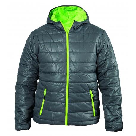 Зимно спортно яке с качулка - сиво + зелено