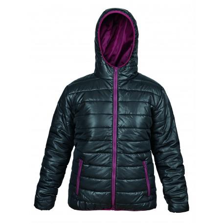 Зимно дамско яке - черно и бордо