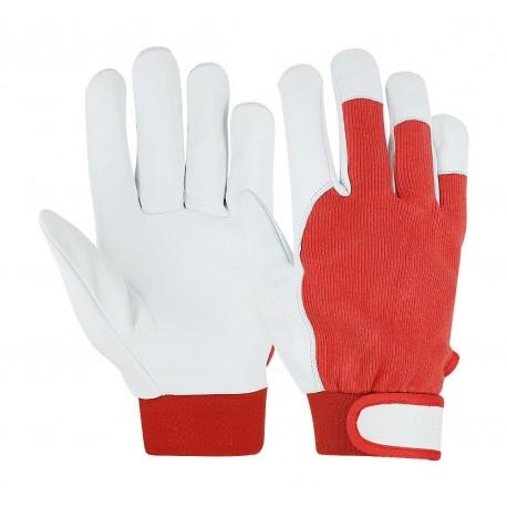 Работни ръкавици от агнешка кожа и плат 077084