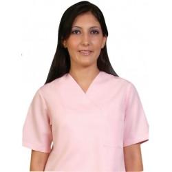Дамски медицински комплект с къс ръкав /розов/