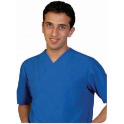 Мъжки медицински комплект с къс ръкав /син/