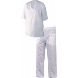 Комплект дрехи подходящ за медицински сестри и доктори в бял цвят.