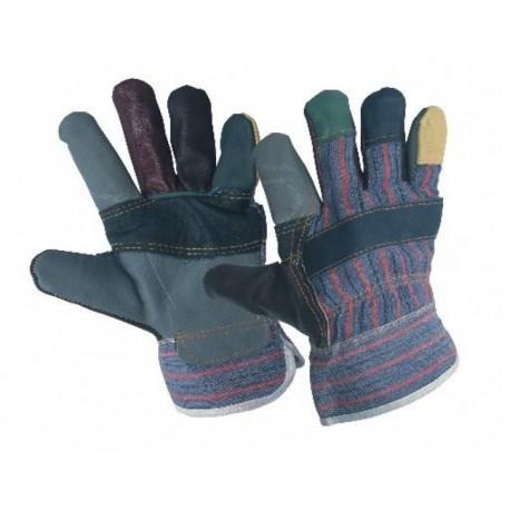 Работни ръкавици от разноцветна лицева кожа и плат ROBIN Код:0105007