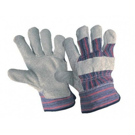 Работни ръкавици от цепена кожа /велур/ и плат GULL Код: 077070
