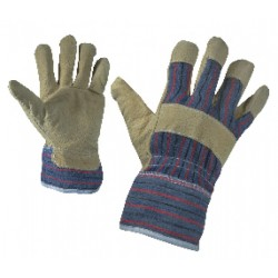 Work gloves of pig-split palm and fabric back SERIN