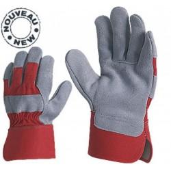 Работни ръкавици от цепена кожа /велур/ и плат Код: 111020