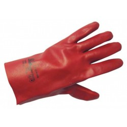 Cotton weave work gloves, dipped in PVC,REDSTART 27 Code: 0105028